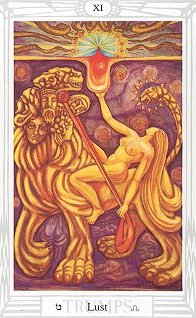 """Lust"", card in the deck of Aleister Crowley and Frieda Harris"
